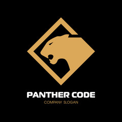 Golden panther logo. The head in profile. Fearless panther. Roaring predator. Fang, face. Combine with text. Vector Logo Template