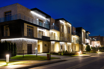 Townhouses in the night town