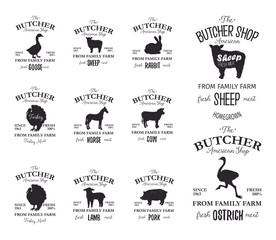 Butcher American Shop labels design set with ostrich, turkey bird, horse, cow, lamb. Farm animals grunge logo templates. Animals silhouettes. Can be used for typography banners, advertising