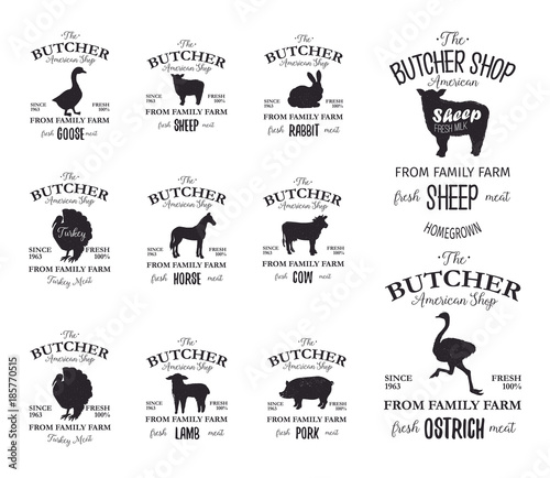 Butcher American Shop labels design set with ostrich, turkey bird ...