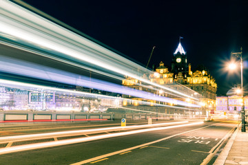 Traffic at night near Edinburgh Waverly station