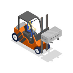 Forklift loading cinder block isometric 3D icon. Storage logistics or house construction vector illustration isolated on white background.