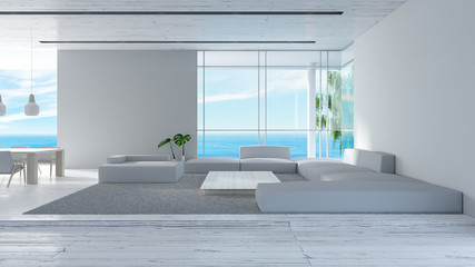 Modern interior living room wood floor sofa set sea view summer 3d rendering. minimal living room design.