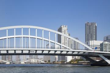 Kachidoki bridge and Sumida river