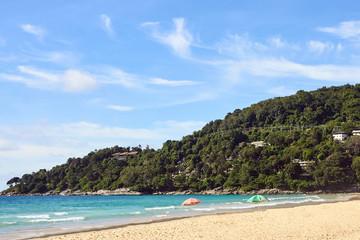 Relax on beach. Sunny day. Blue sea