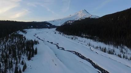 Wall Mural - Sunset Mount Hood Timberline Meadows Creek Fresh Snow Aerial
