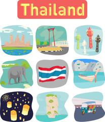 Thailand landmark objects icons label
