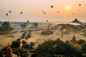 BAGAN, MYANMAR - March 6, 2017: Group of temples in Bagan. Ancient Pagoda. Sunrise in Bagan