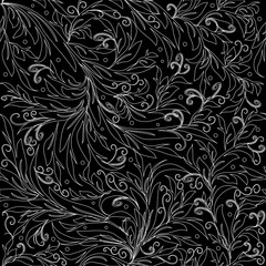 Floral line art tracery vector seamless pattern. Flowery background with outline flowers, leaves, swirls. Hand drawn patterned texture. Black white isolated rich design for wallpapers, fabric, prints.