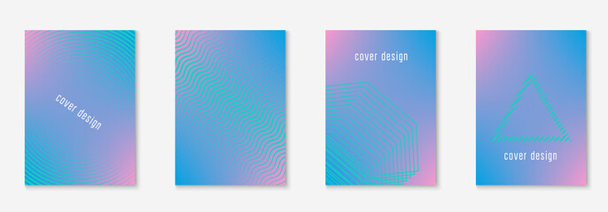 Minimal trendy covers. Vector halftone gradients. Geometric future template for flyer, poster, brochure and invitation. Minimalistic colorful cover. Set of EPS 10 illustration.