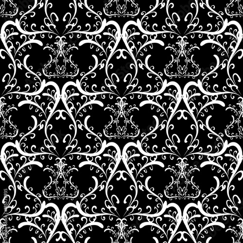 Swirls Vintage Floral Vector Seamless Pattern Black White Damask Background Hand Drawn Swirl Lines