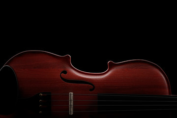 Classical Wooden Violin with Bow. 3d Rendering