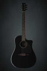 Black Wooden Acoustic Guitar. 3d Rendering