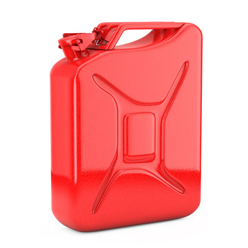 Red Metal Jerrycan with Free Space for Yours Design. 3d Rendering