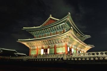 Seoul, South Korea - September 29, 2016 : Gyeongbokgung Gyeonghoeru in the palace in Seoul at Night, South Korea.