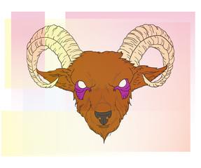 Abstract demonic goat head vector illustration