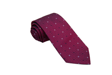 Closeup of an elegant stylish tie rolled and isolated on a white background