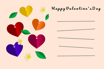 Illustration of Happy Valentine's Day card in light pink color tone. Colorful Hearts, beautiful flowers and green leaves vector. Picture with line for writing on card.