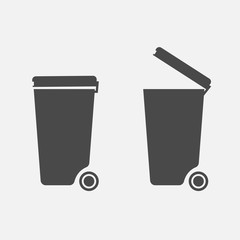 keep clean trash cans for no littering sign vector icon