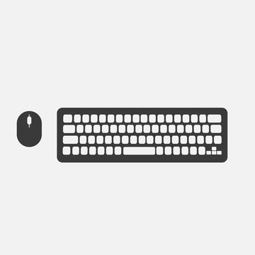 desktop computer keyboard and mouse wireless vector icon technology