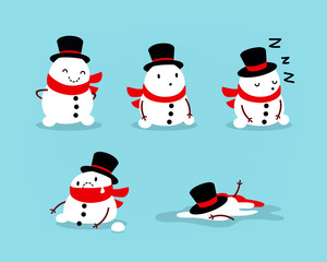 Early Spring, Snowman melts. Set of isolated objects for seasonal design. Vector illustration
