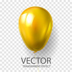 Realistic 3D yellow gold  balloon vector stock illustration isolated on transparent background. Glossy shine helium balloon for wedding, Birthday celebration, party, grand opening, sale promotion