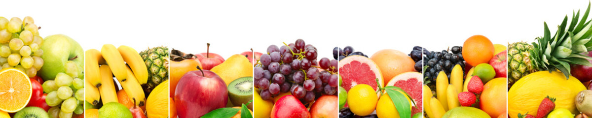 Panoramic collection fresh fruits isolated on white background. Wide photo