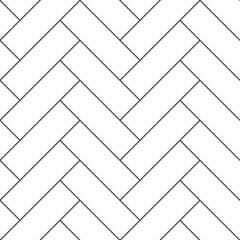 Obraz Outline vintage wooden floor herringbone parquet vector seamless pattern - fototapety do salonu