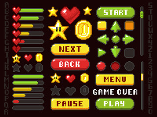 Pixel game buttons, navigation and notation elements and symbols vector set