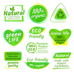 Healthy eco vegetarian food organic vector logos and products stickers