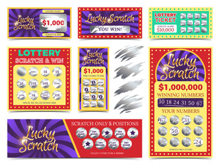 Winning lotto tickets and scratch cards vector set