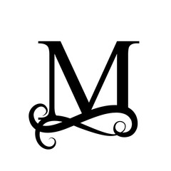 Capital Letter For Monograms And Logos Beautiful Black Vector M Design