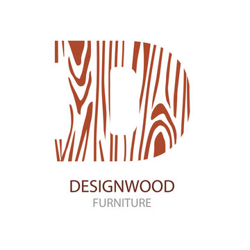 Logo letter D, wood furniture. Vector illustration, Concept of saw cut tree trunk, isolated on white background for forestry and sawmill.  logo design trendy modern