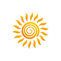 Flat sun Icon. Summer pictogram. Sunlight symbol. Vector illustration