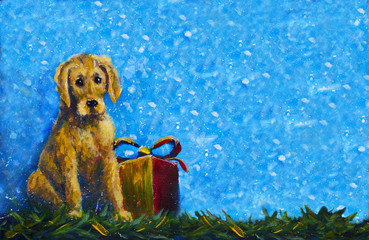 banner Symbol of new year 2018 yellow dog with gift box original painting. Puppy Dog on a blue snowy background, banner handpainted original acrylic artwork.