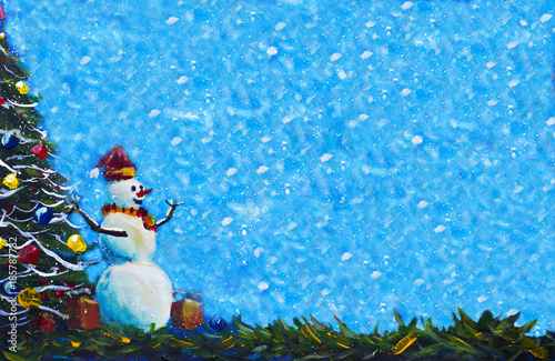 Acrylic Christmas Tree Painting.Banner Merry Snowman In Red Caps With Gift Box Original