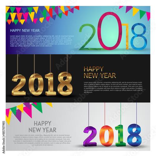 happy new year 2018 vector banner