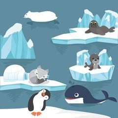 arctic animals  cartoon background
