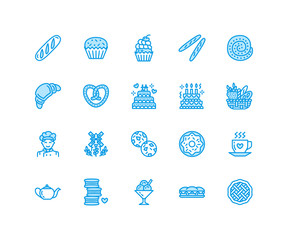 Bakery, confectionery flat line icons. Sweet shop products cake, croissant, muffin, pastry cupcake, pie Food thin linear signs, bread house. Pixel perfect 64x64.