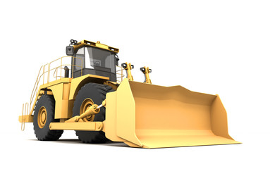 Powerfull concept. Massive yellow hydraulic earth mover isolated on white. Left to right direction. 3D illustration. Wide angle. Front view