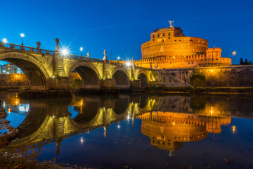 Castel Sant'Angelo in Rome at sunset.