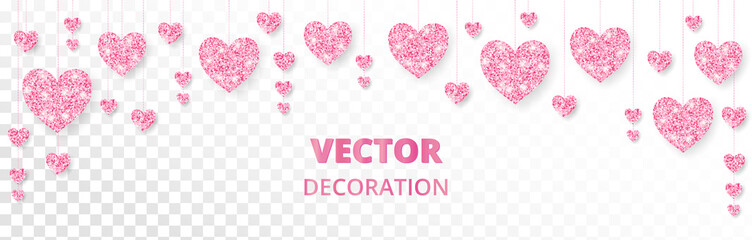 Wall Mural - Pink hearts frame, border. Vector glitter isolated on white. For Valentine and Mothers day cards, wedding invitations.
