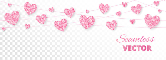 Pink hearts frame, seamless border. Vector glitter isolated on white