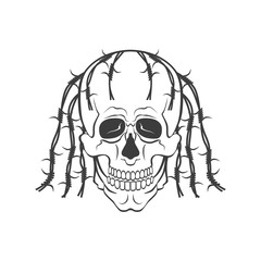 Hand drawn skull vector modern illustration