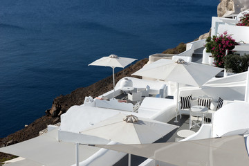 White terraces in the town of Oia with sea view on Santorini