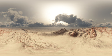 Foto op Aluminium Droogte panorama of desert at sand storm. made with the one 360 degree lense camera without any seams. ready for virtual reality