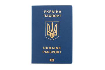 Foreign passport of Ukraine isolated on white background. Ukrainian traveler. The Ukrainian migrant. Visa-free regime for Ukraine