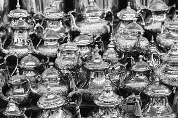 Moroccan teapots on sale, Marrakech Medina, Morocco