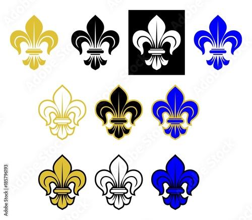 lilie blume in verschiedenen variationen f r die heraldik auf einem isolierten wei en