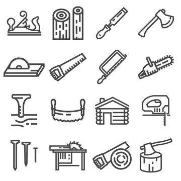 Carpentry wood work tools and equipment line icons set